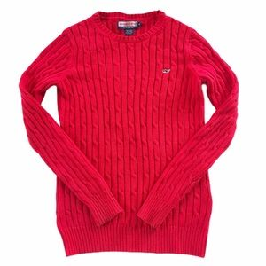 Vineyard Vines Red Cable Knit Sweater SZ M